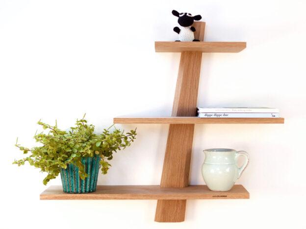 Modern triangle shelf oak Danish Design