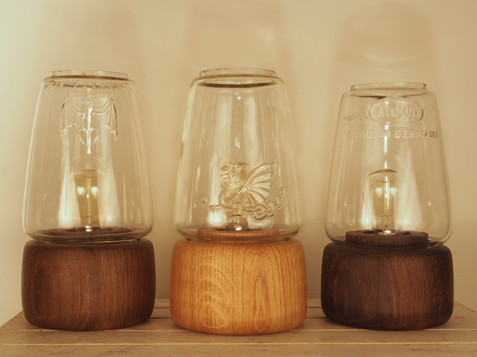 Lamps in oiled and smoked oak from Hjuler.Design
