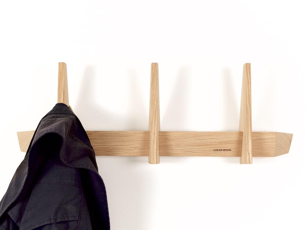 Simple coat racks made in oak wood from hjuler design