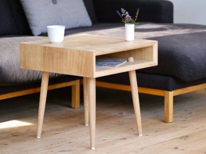Sofabord træ design egetræ Hjuler.Design